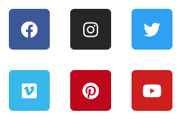 Social Media Icons von Facebook, Instagram, Twitter, Pinterest und Youtube
