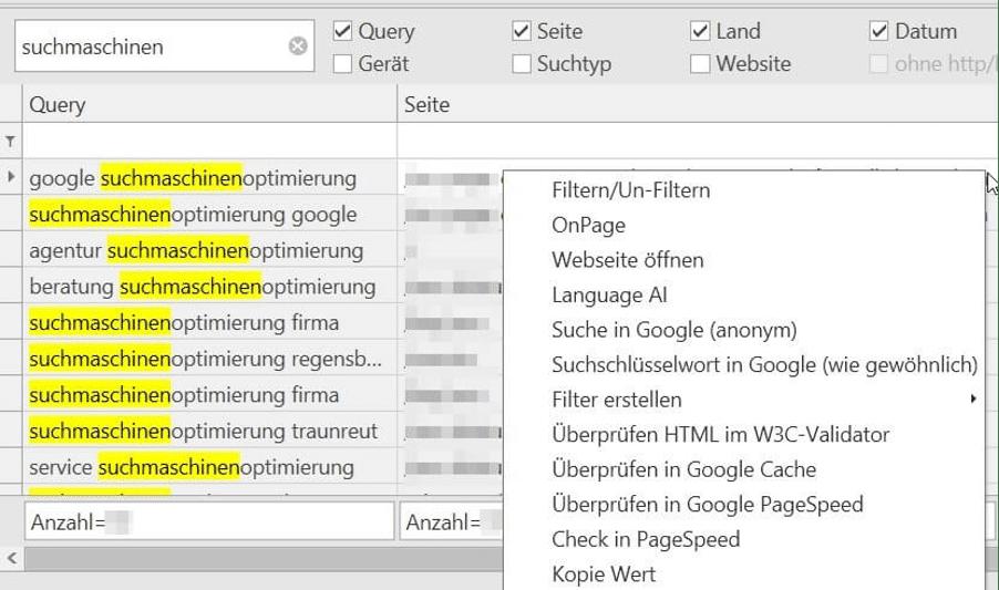 Search Console Helper Suchfunktion