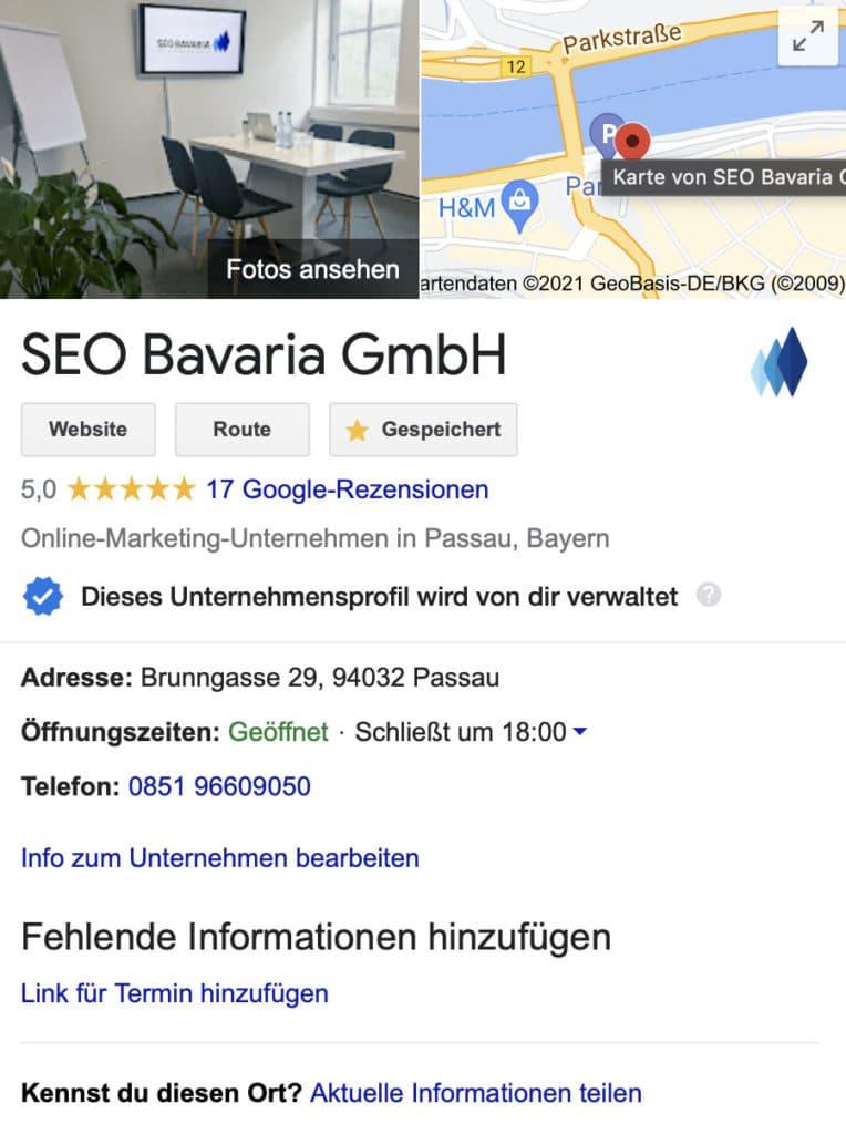 SEO Bavaria Google My Business Eintrag
