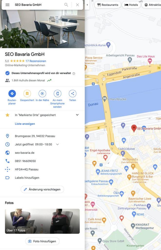 SEO Bavaria Google My Business Eintrag Maps